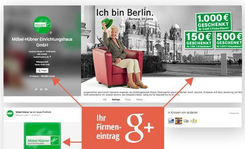 Professioneller Firmeneintrag google plus eintrag Umsatzvorteil google+ Google MyBusiness Google Places Vorschau