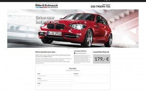 BMW Landingpage drive now but your own