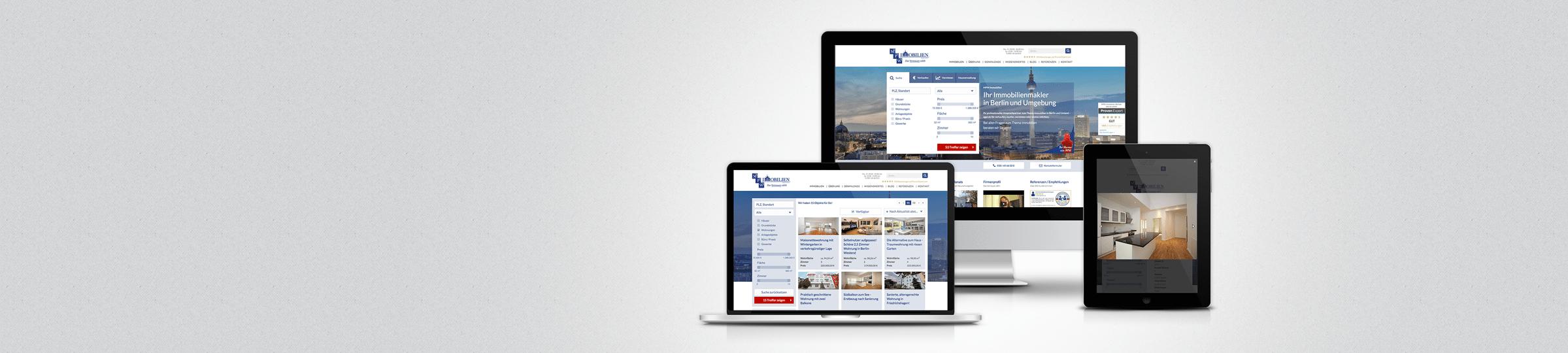 Immobilien-Website auf verschiedenen Endgeräten.
